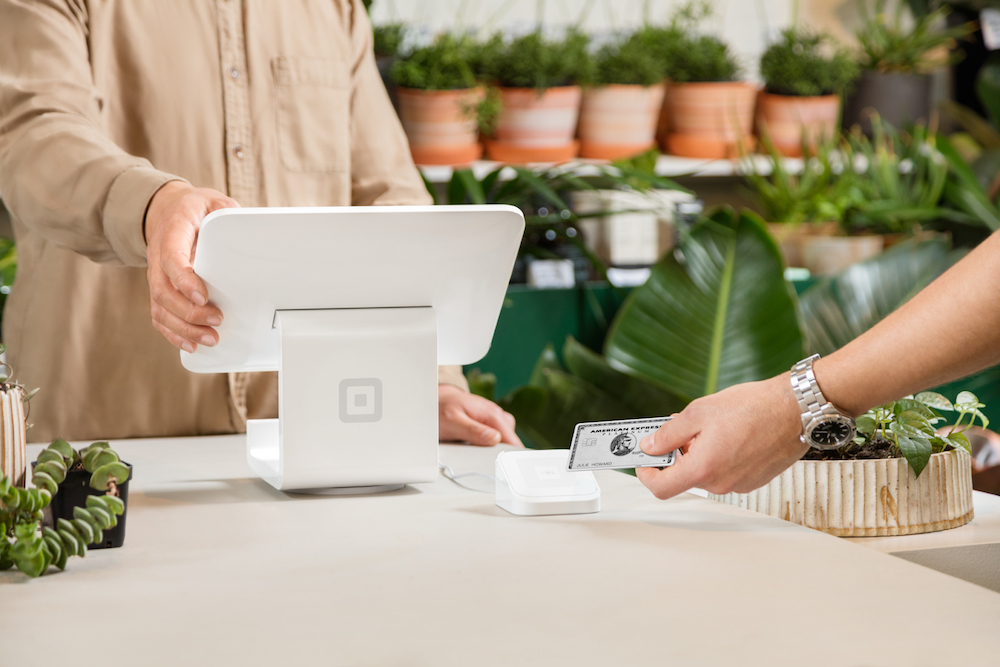 Square Stand on countertop in plant shop