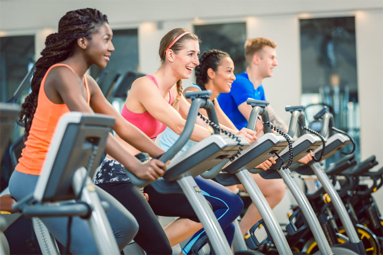 Health and Fitness clients on exercise bikes