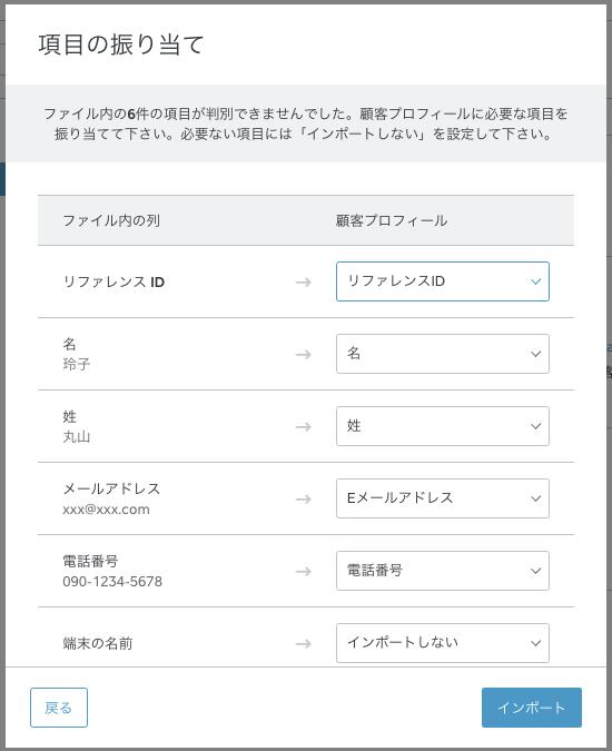 顧客情報をインポート後、割り当てフィールドをダブルクリックして、すべての情報が適切に分類されたことを確認します。