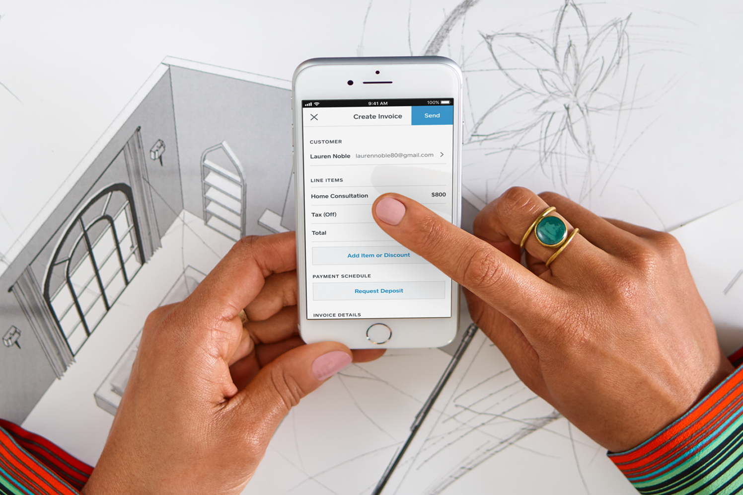 Invoicing on a mobile device