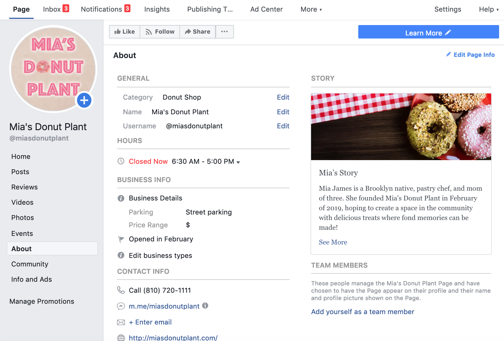 facebook for business example page