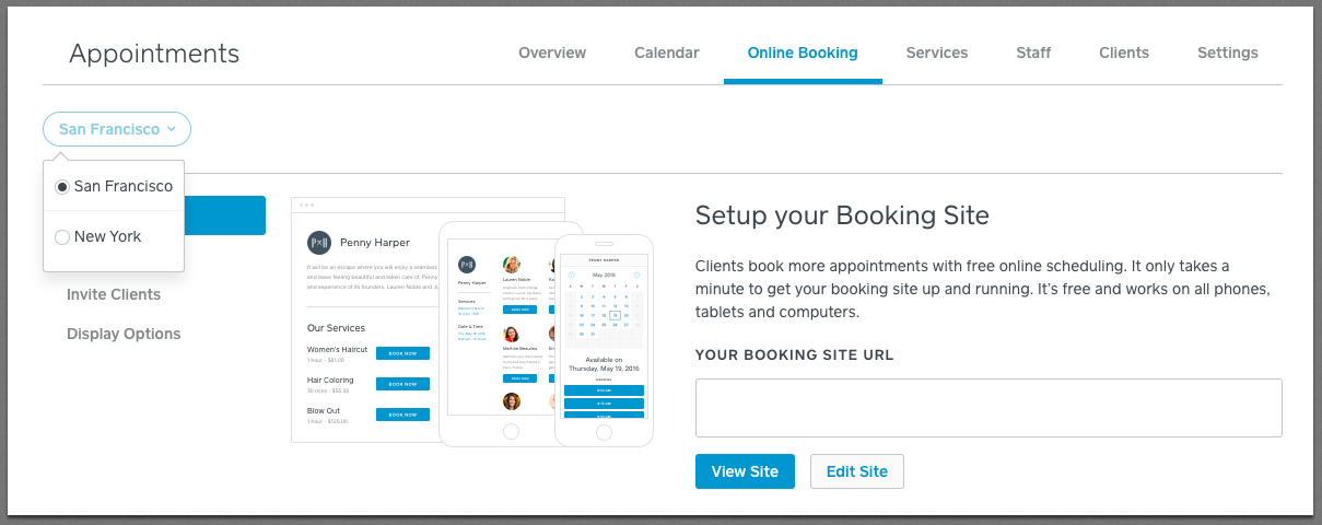 Online Booking Location Selector