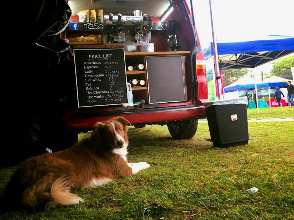taste the bean van with dog at fair