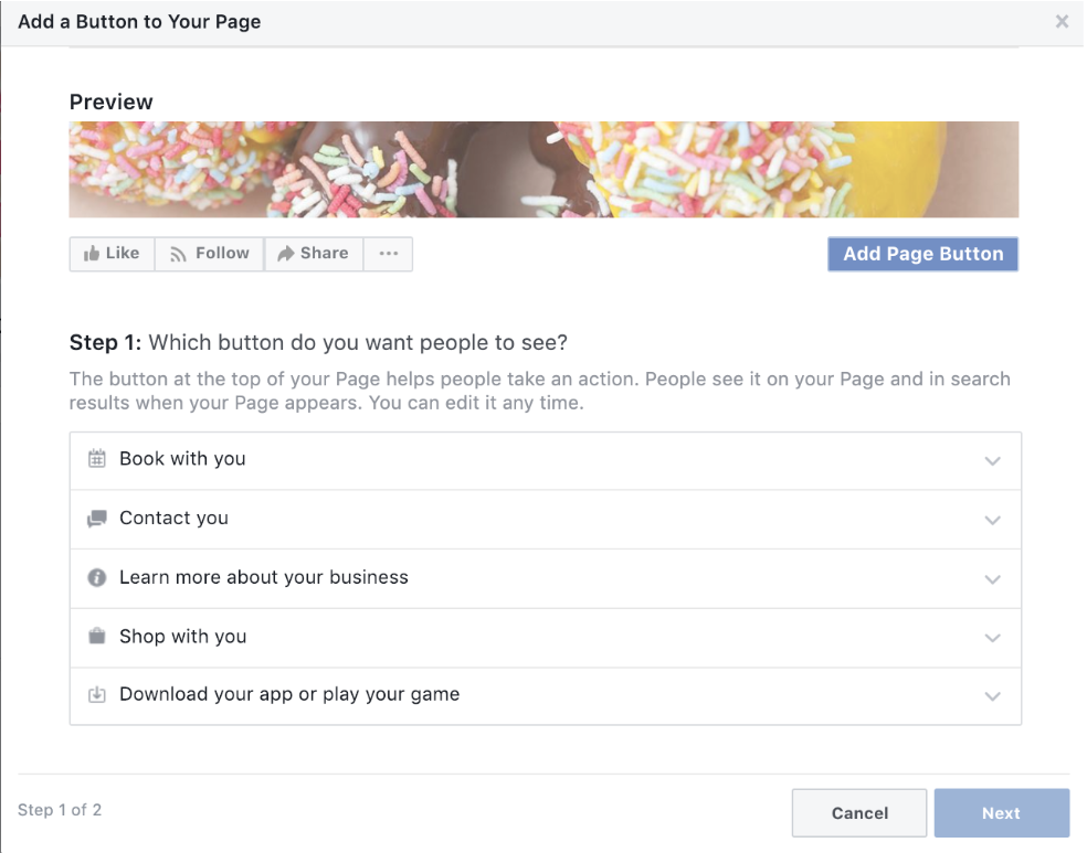 Facebook CTA creation screenshot