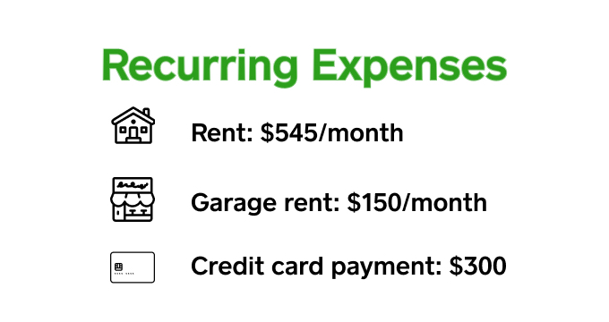 recurring expenses graphic
