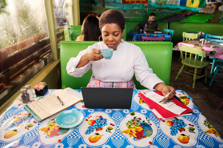 woman business owner working