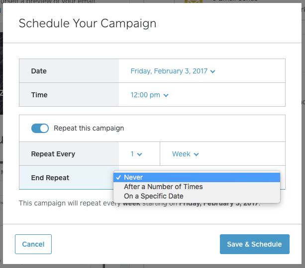 Configuración de campaña de márketing recurrente