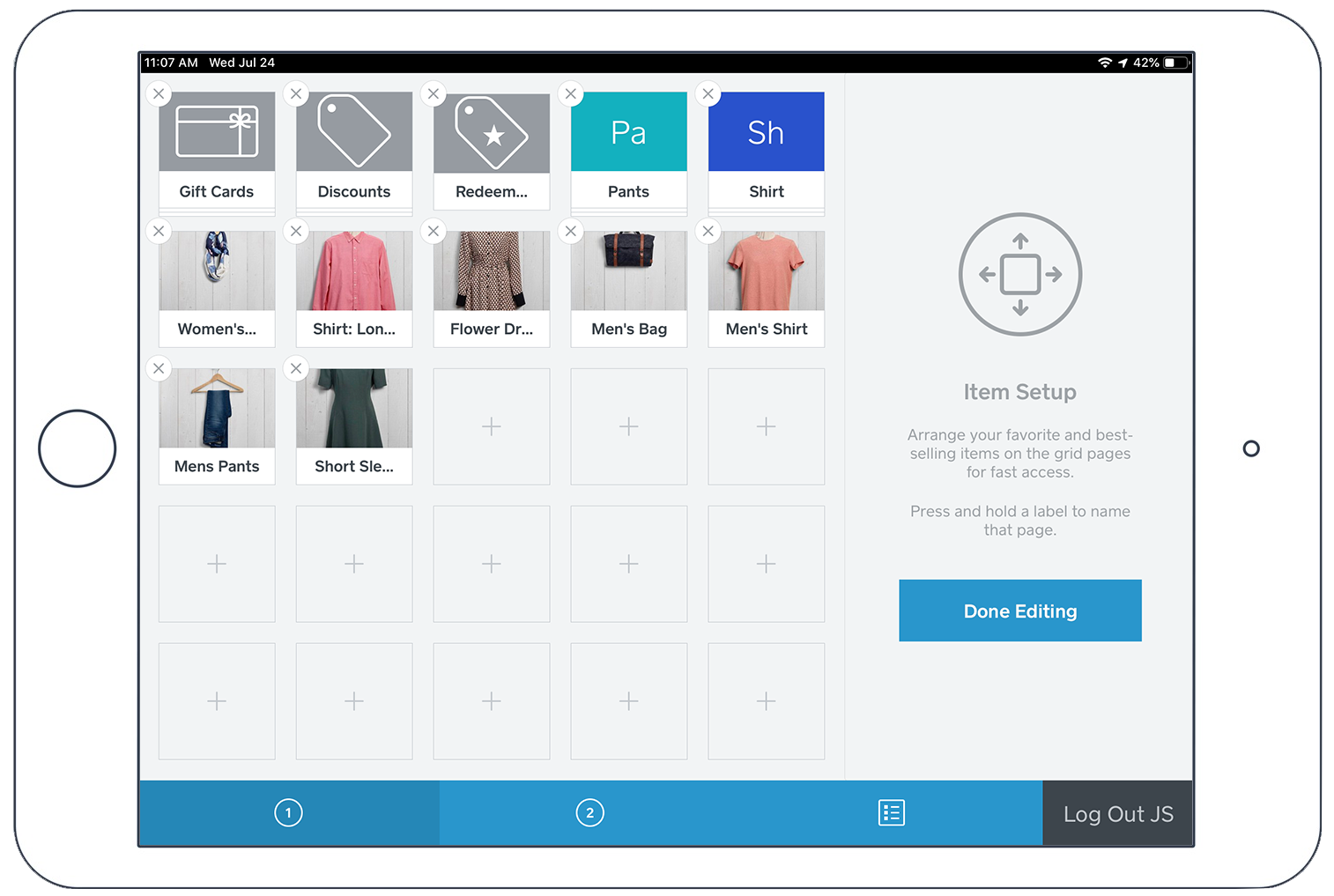 Item Grid for the Square Point of Sale App