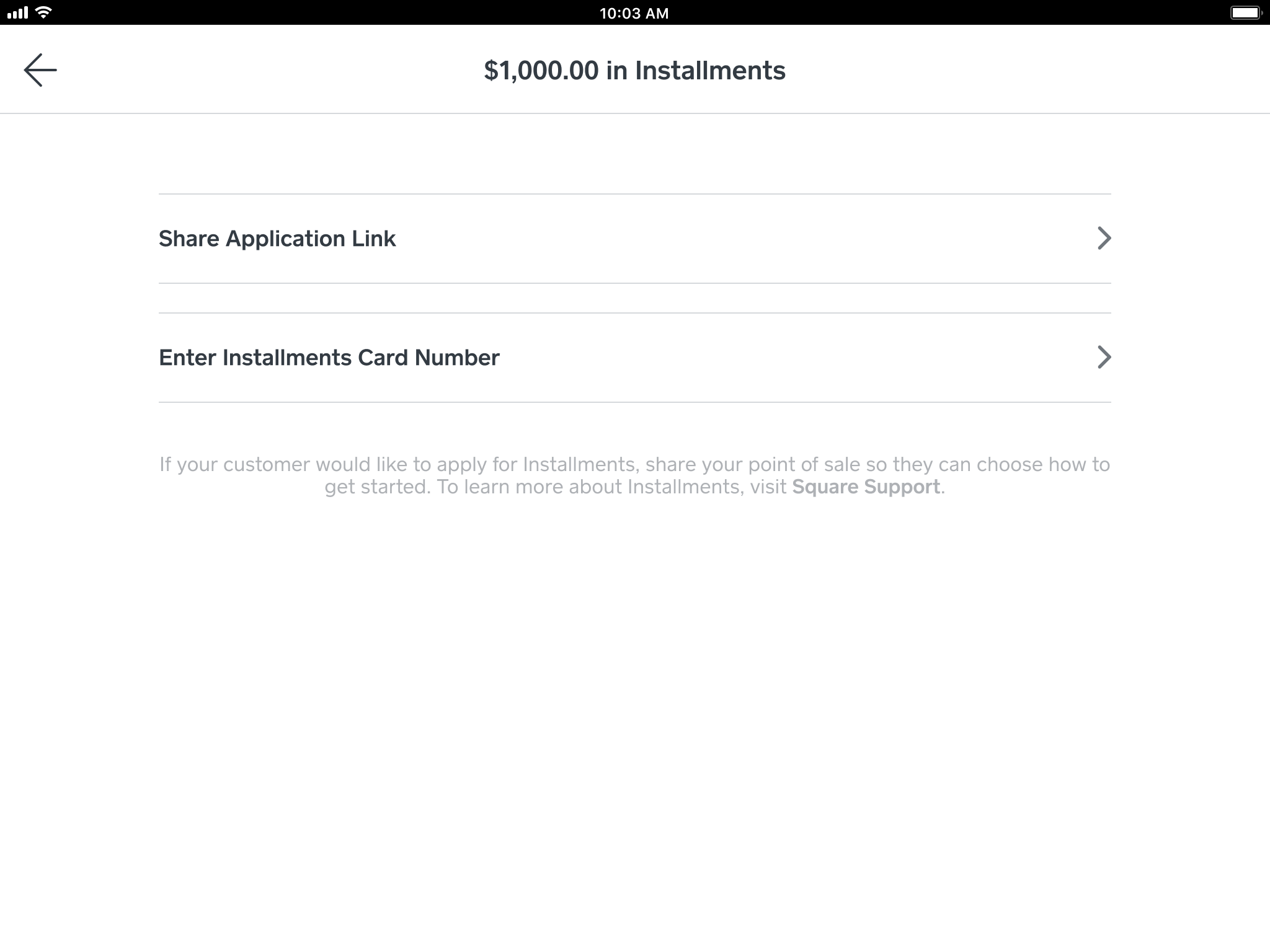 Square Installments button in checkout screen within the point of sale