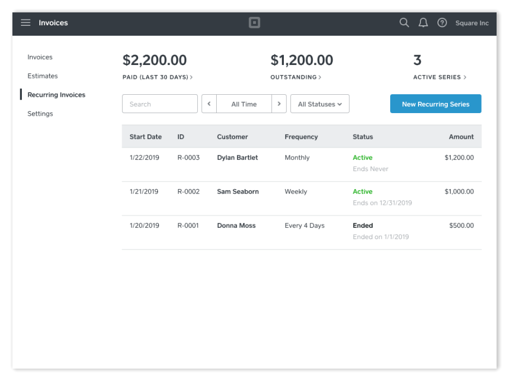 Manage Recurring Payment Series