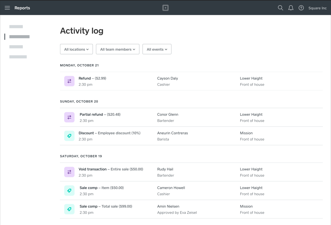 Team Management - Activity Log - CA - EN