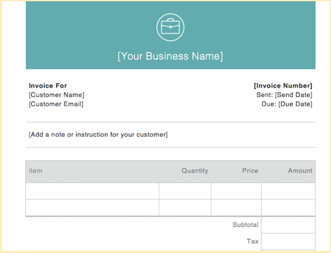 Basic Blank Invoice Example