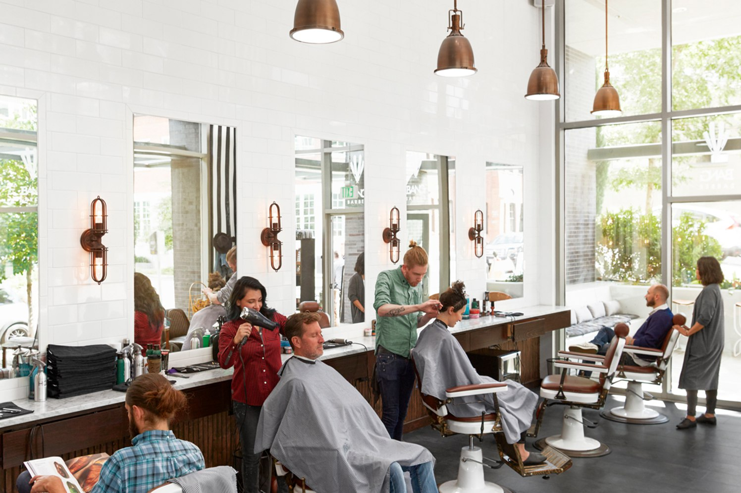 in-store barber shop customers
