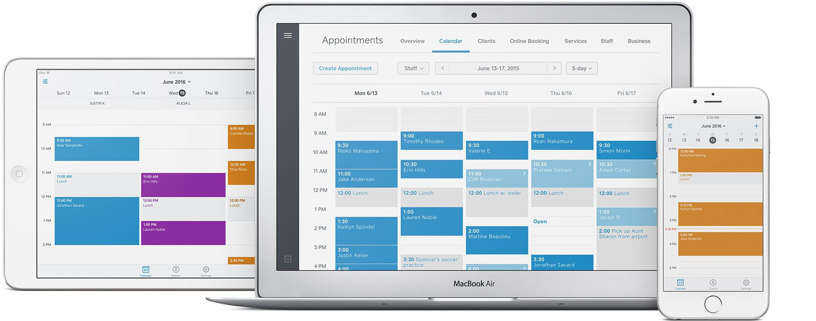 Image of an iPad, laptop, and mobile phone with Square Appointments calendar interface