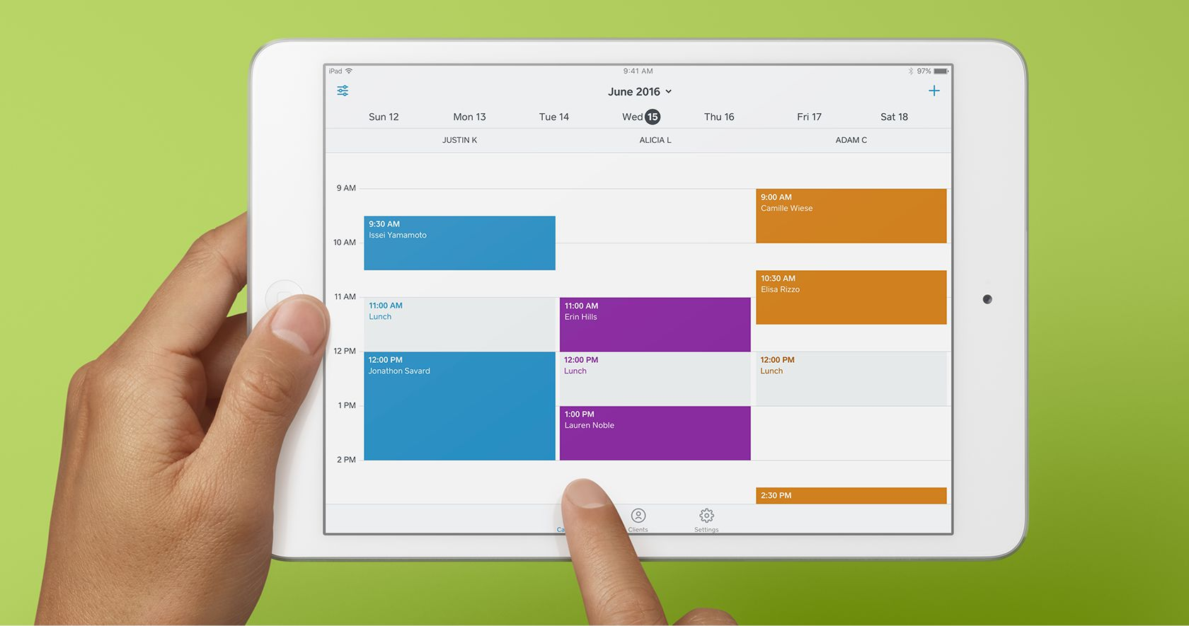 Image of iPad with Square Appointments calendar interface