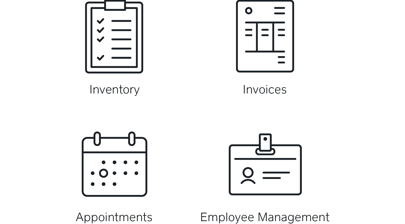 Icons for Square Inventory, Invoices, Appointments, and Employee Management