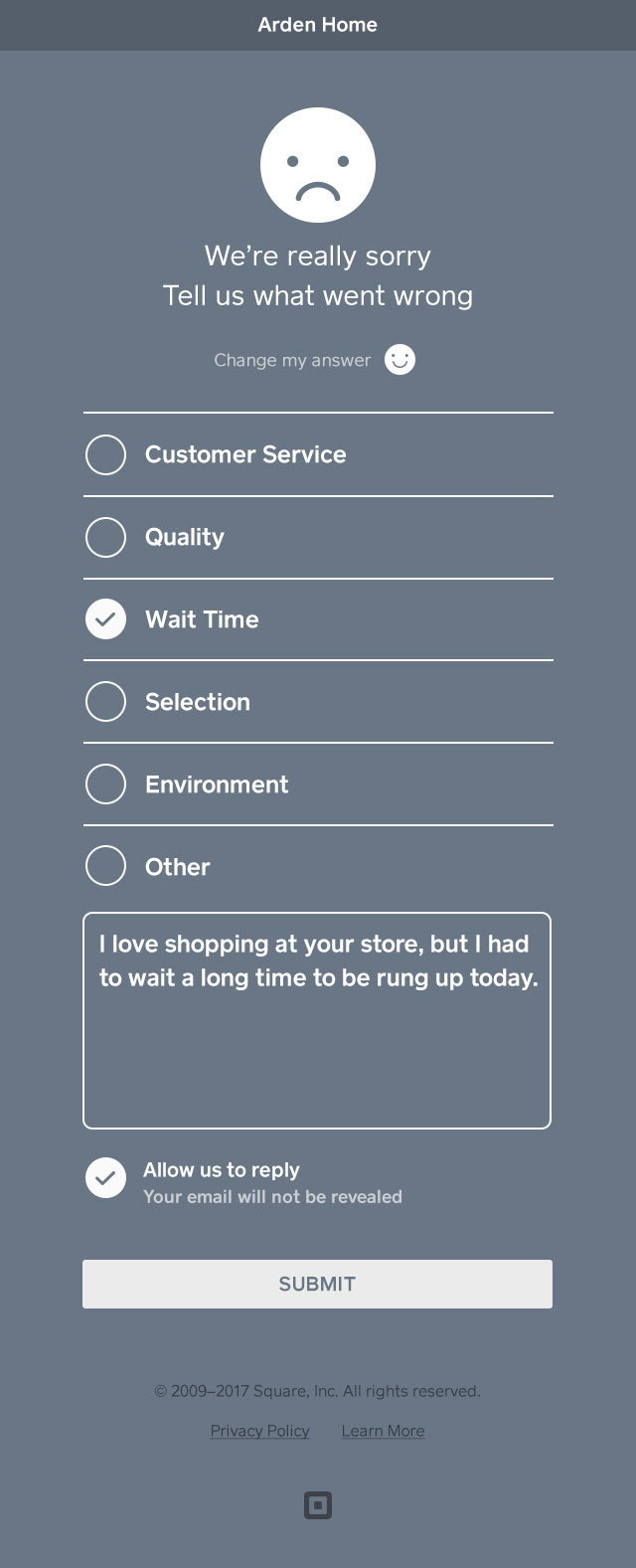 provide additional feedback on your experience with the merchant