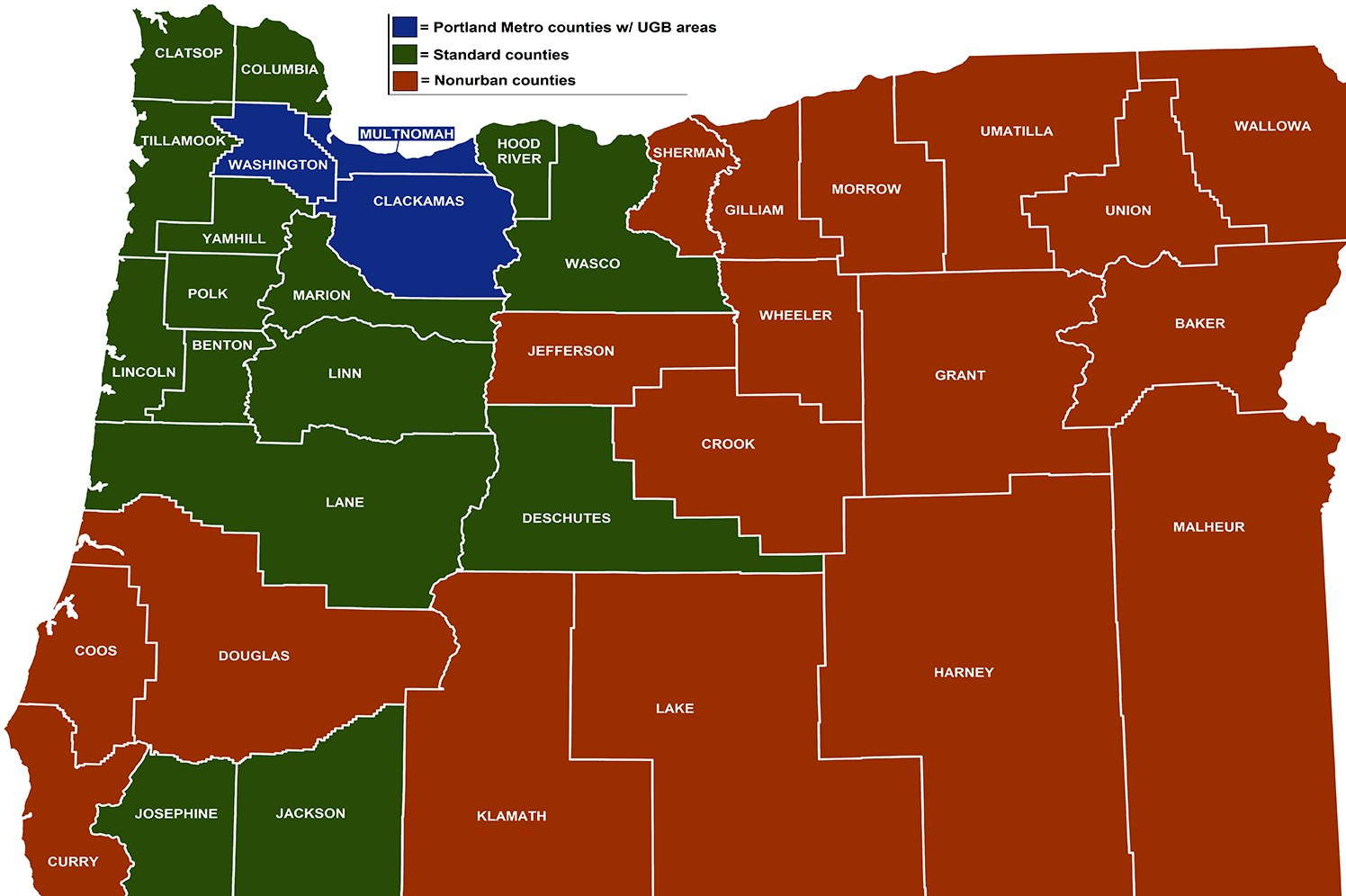 oregon's standard and non-urban counties