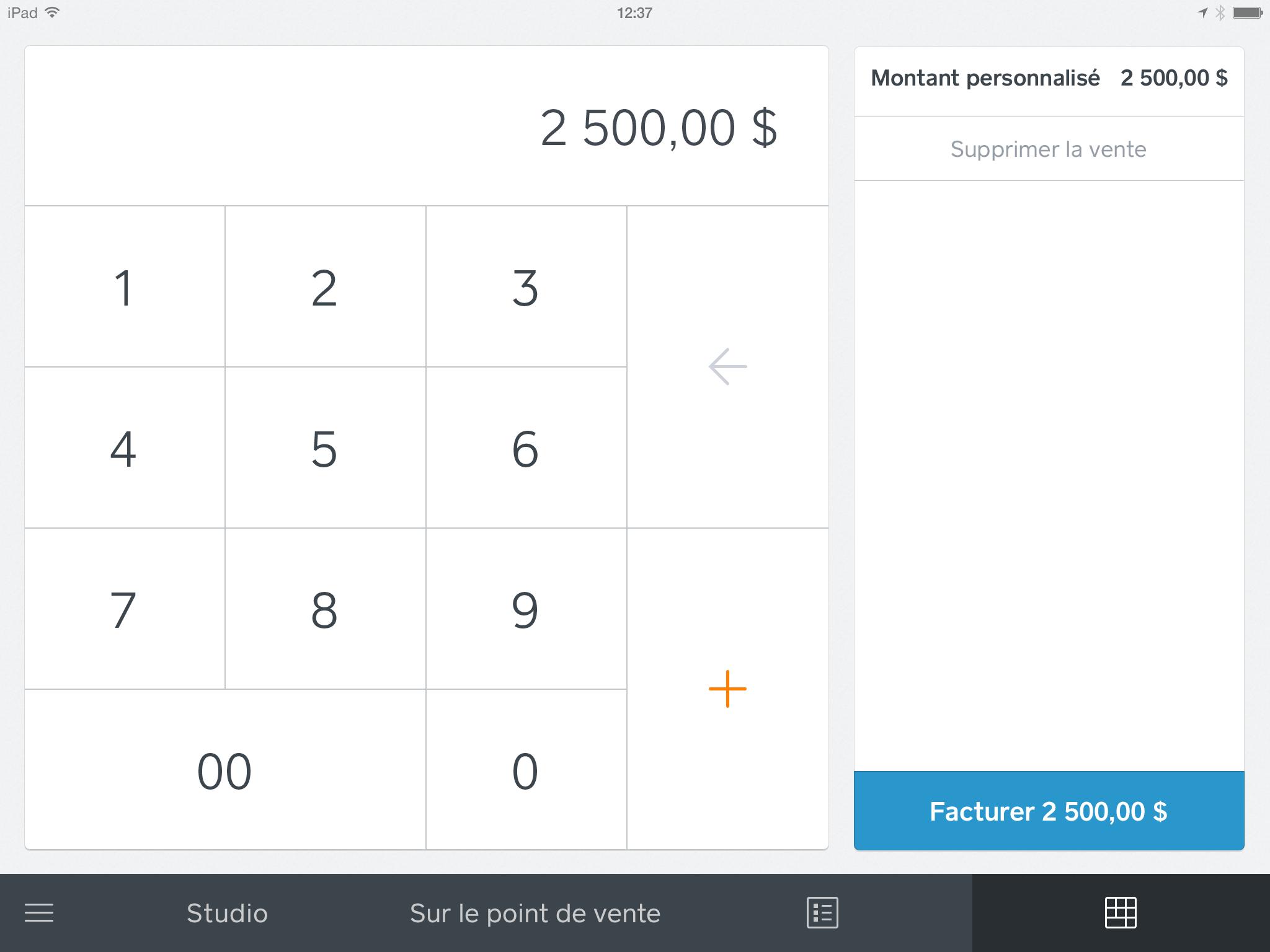 Choisir le montant de la facture