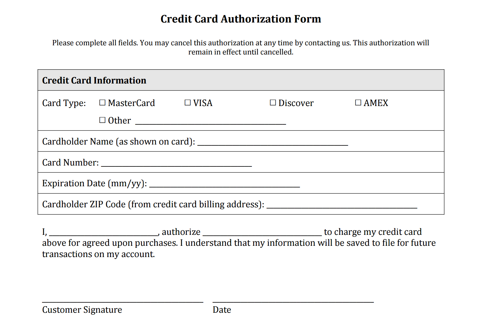Credit Card Authorization Form Templates Download