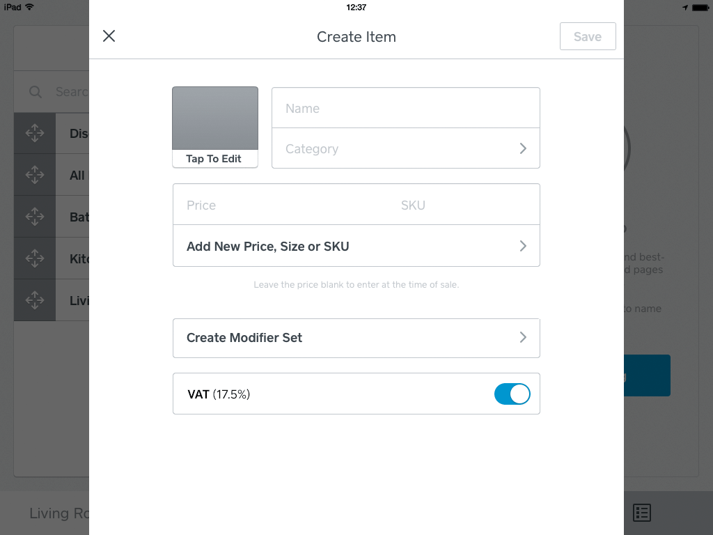 How to create an item on the iPad