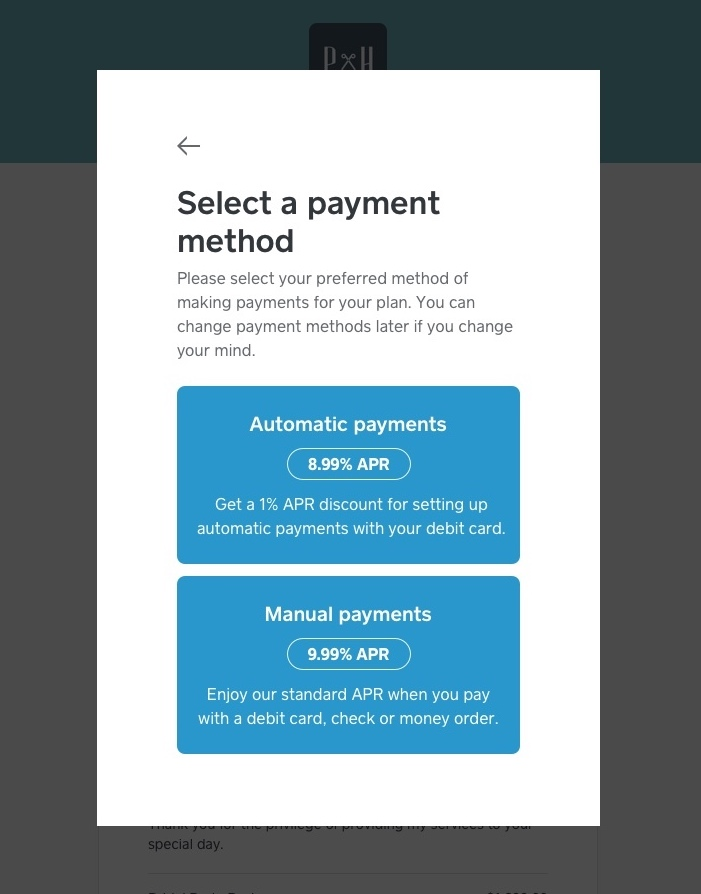Select Payment method through Monthly Installments