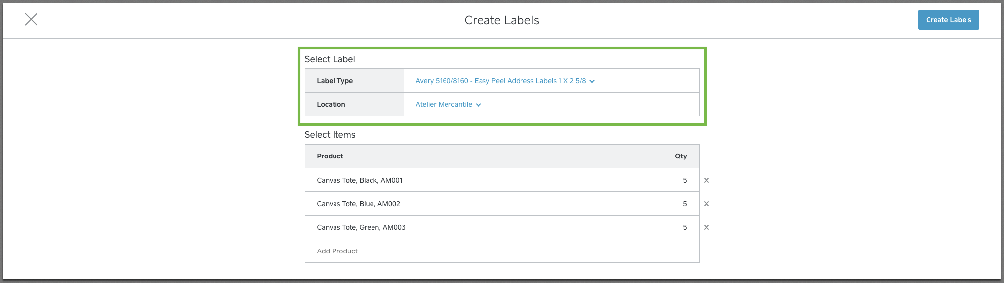 Label Creation Screen in Square Dashboard
