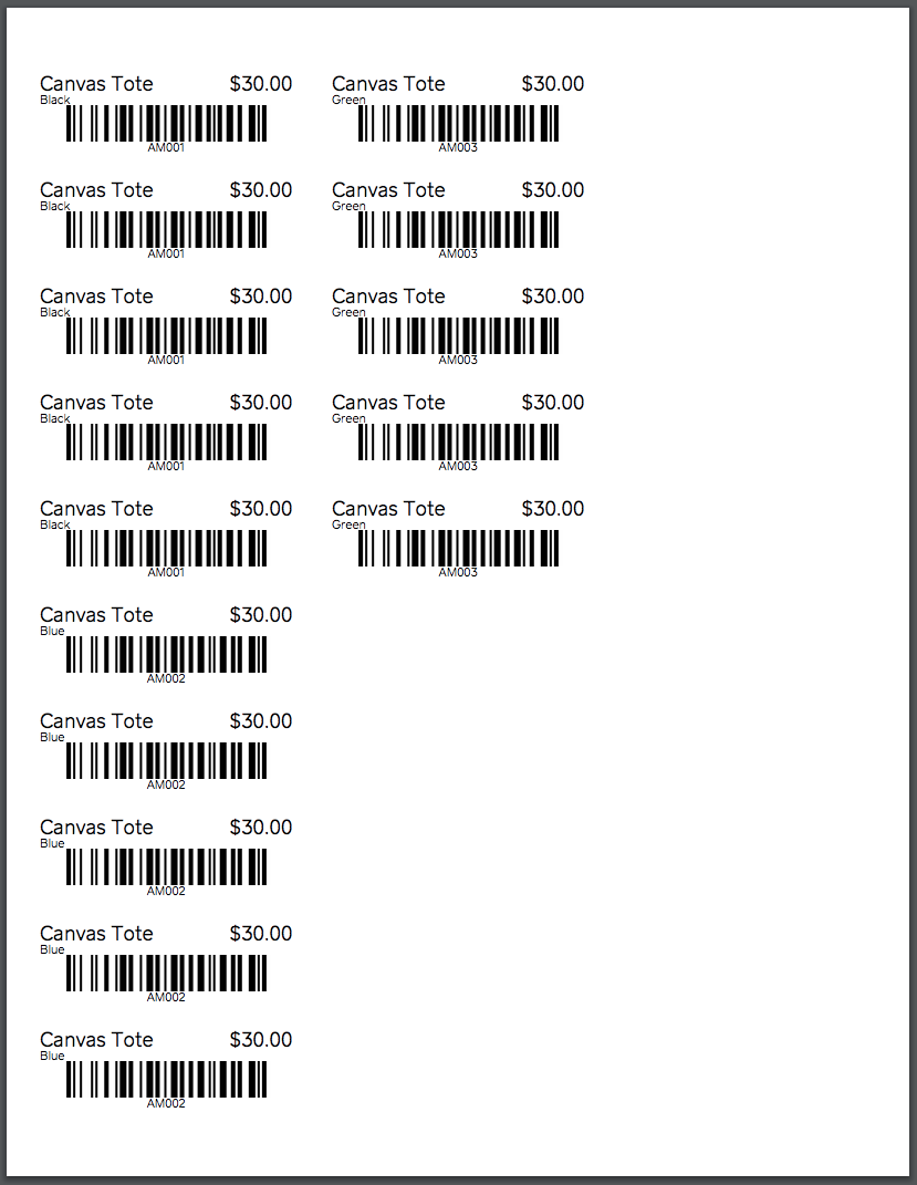 Sample Label Sheet