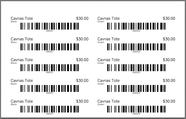 new retail bar code labels
