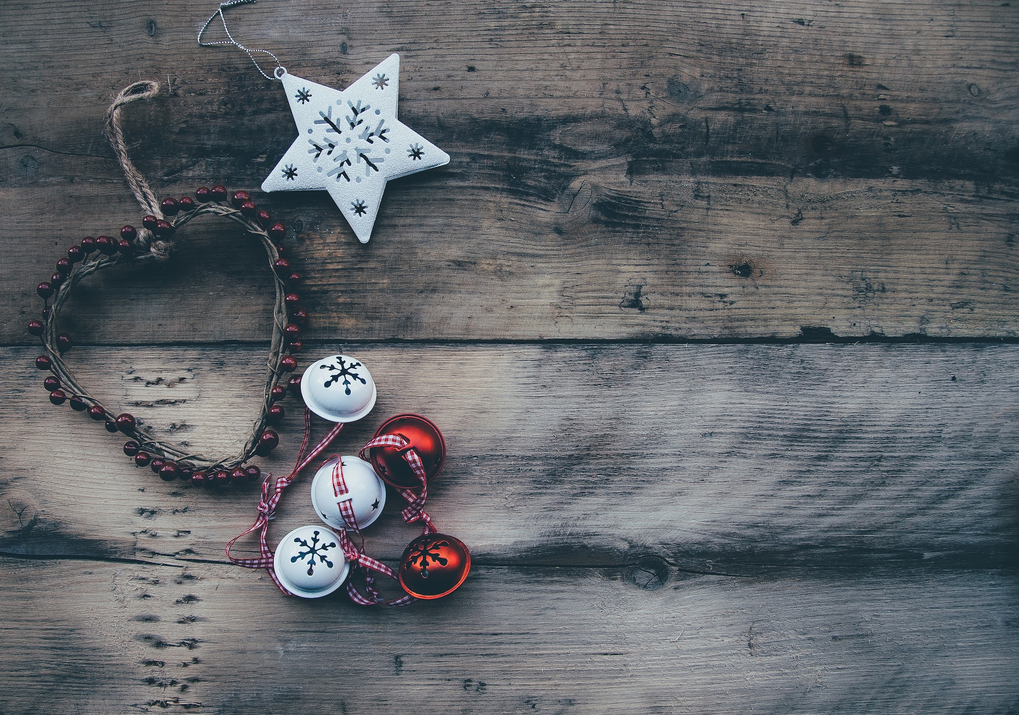 handmade christmas decorations on wooden table
