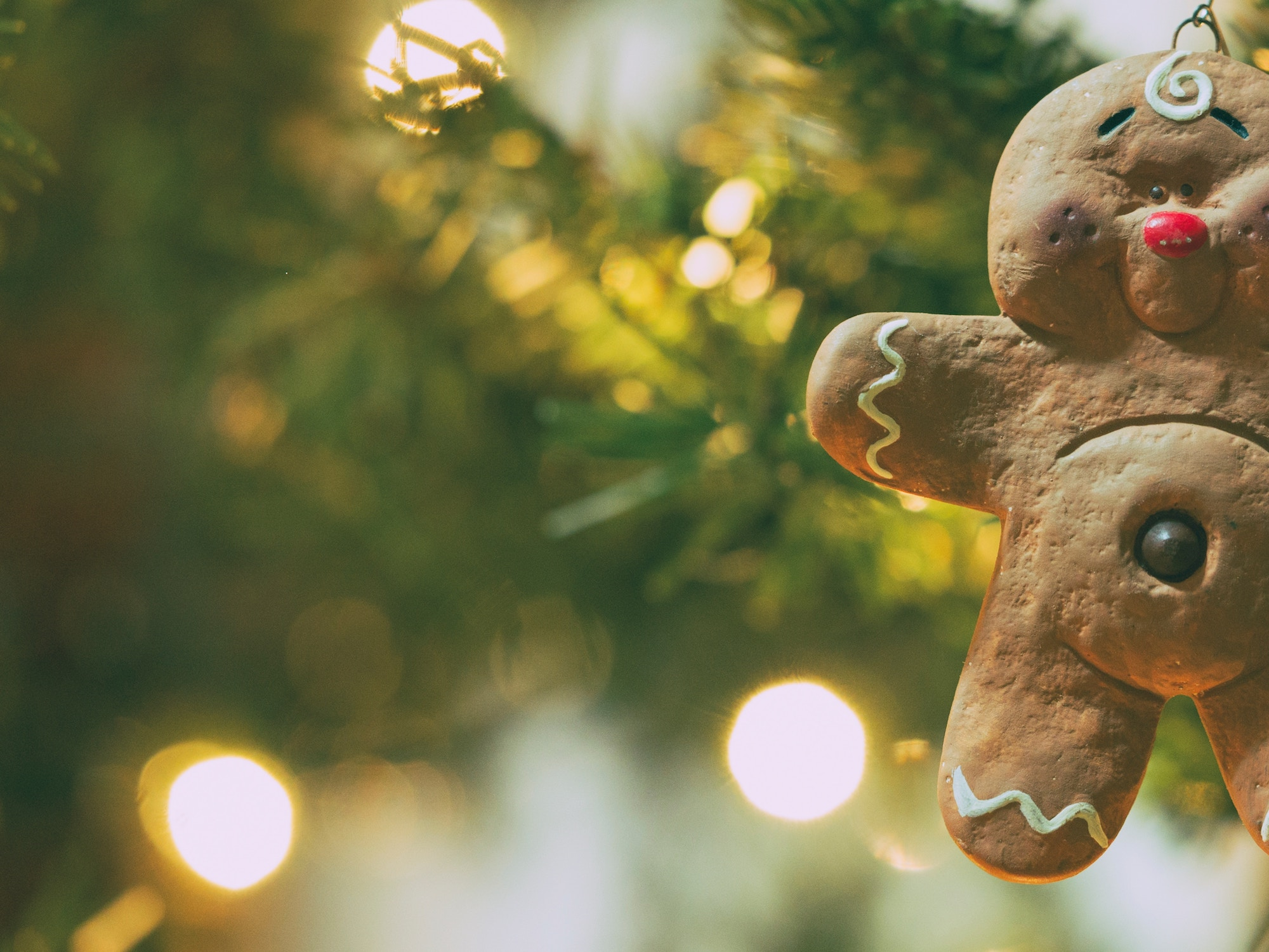 gingerbread man hanging on christmas tree