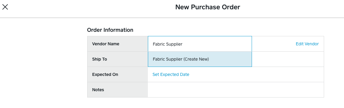 Create Vendor Purchase Order