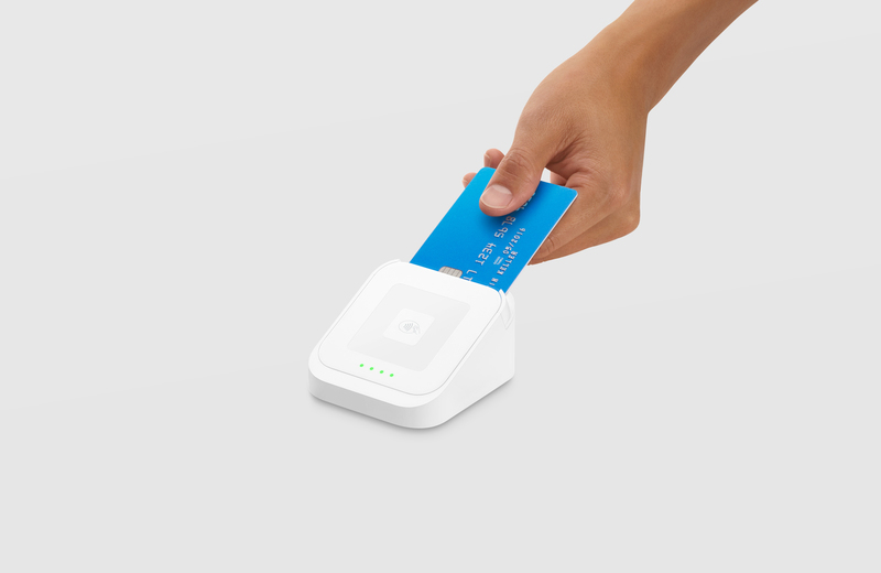 EMV chip card inserted into Square chip reader