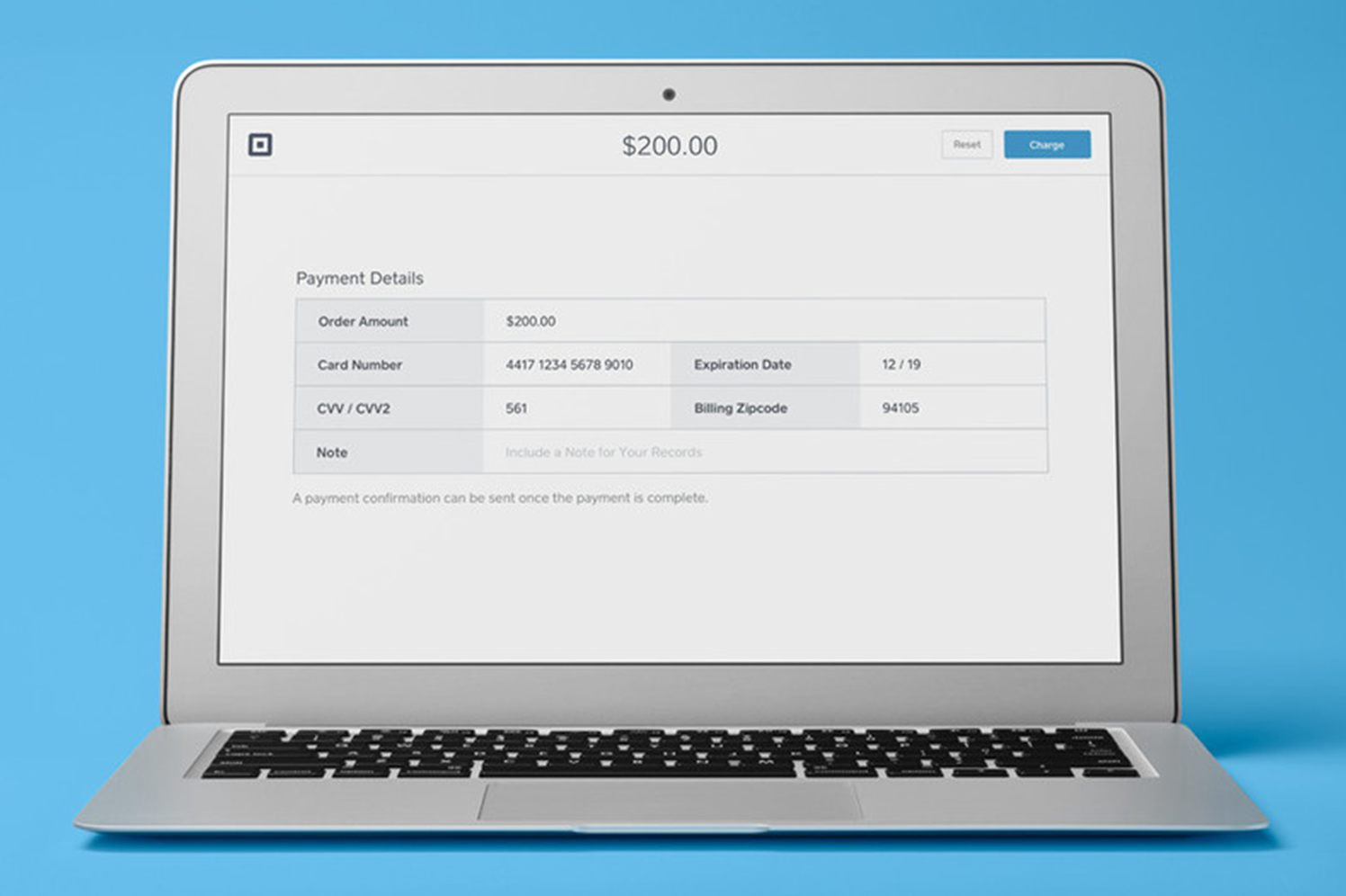 Square's Virtual Terminal VPOS screen