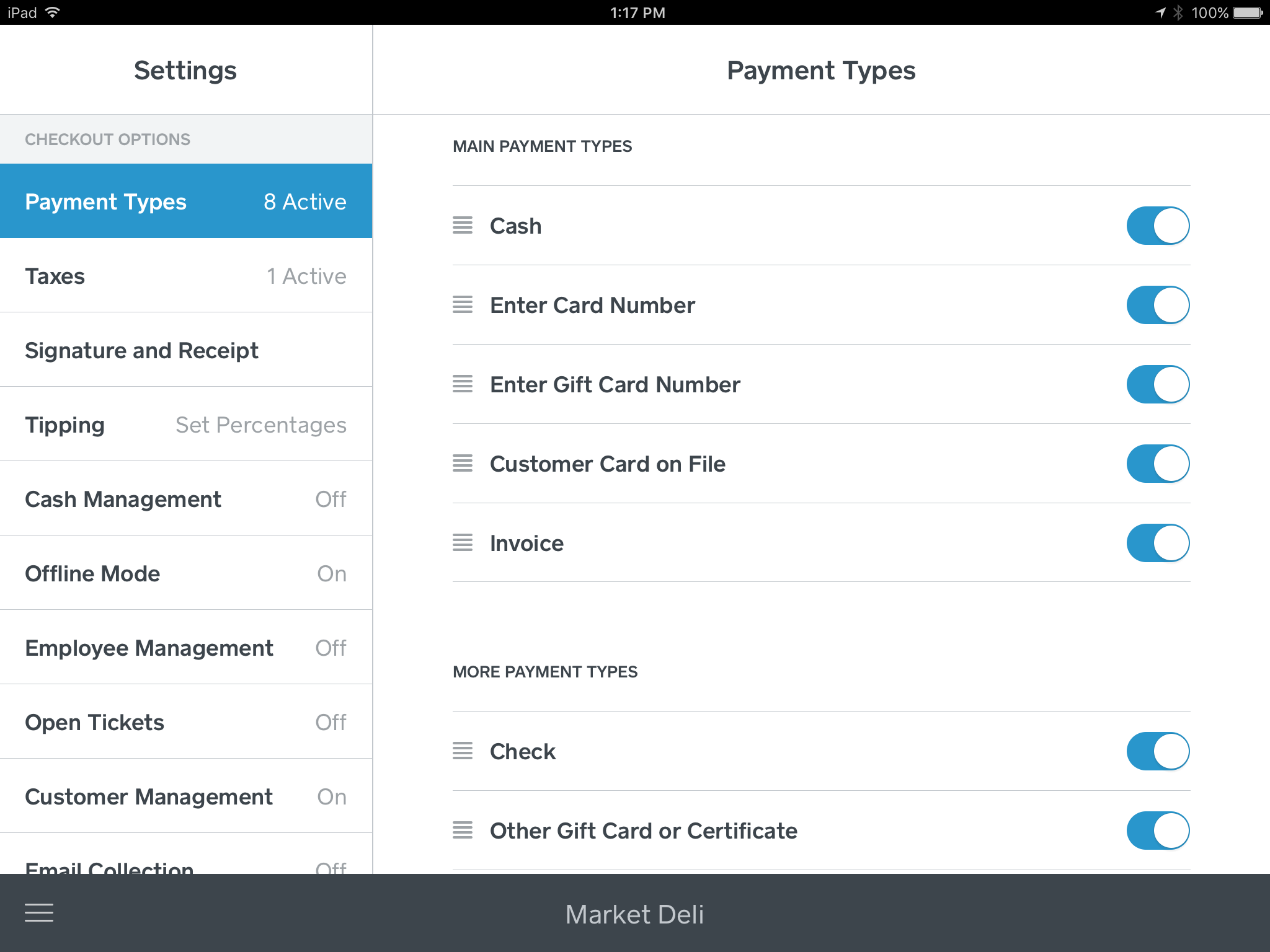 Payment Type Options in iOS