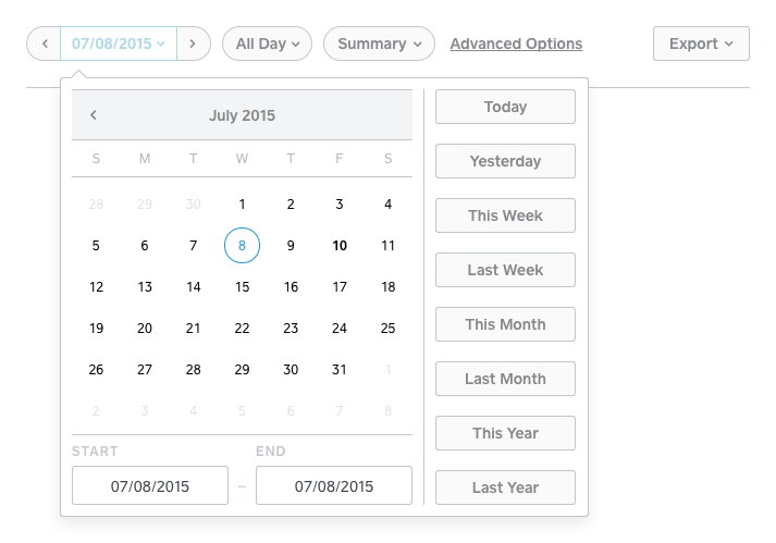 This image shows how to set a date range for your report by clicking the middle of the date selector tool.