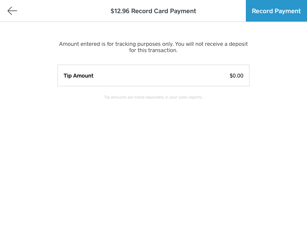 Record credit/debit card payment in iPad