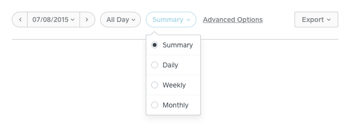 When you click Summary, you'll see the option to compare the data in your report by day, week, or month.