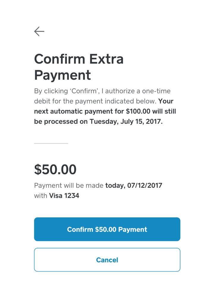 Confirm Extra Payment