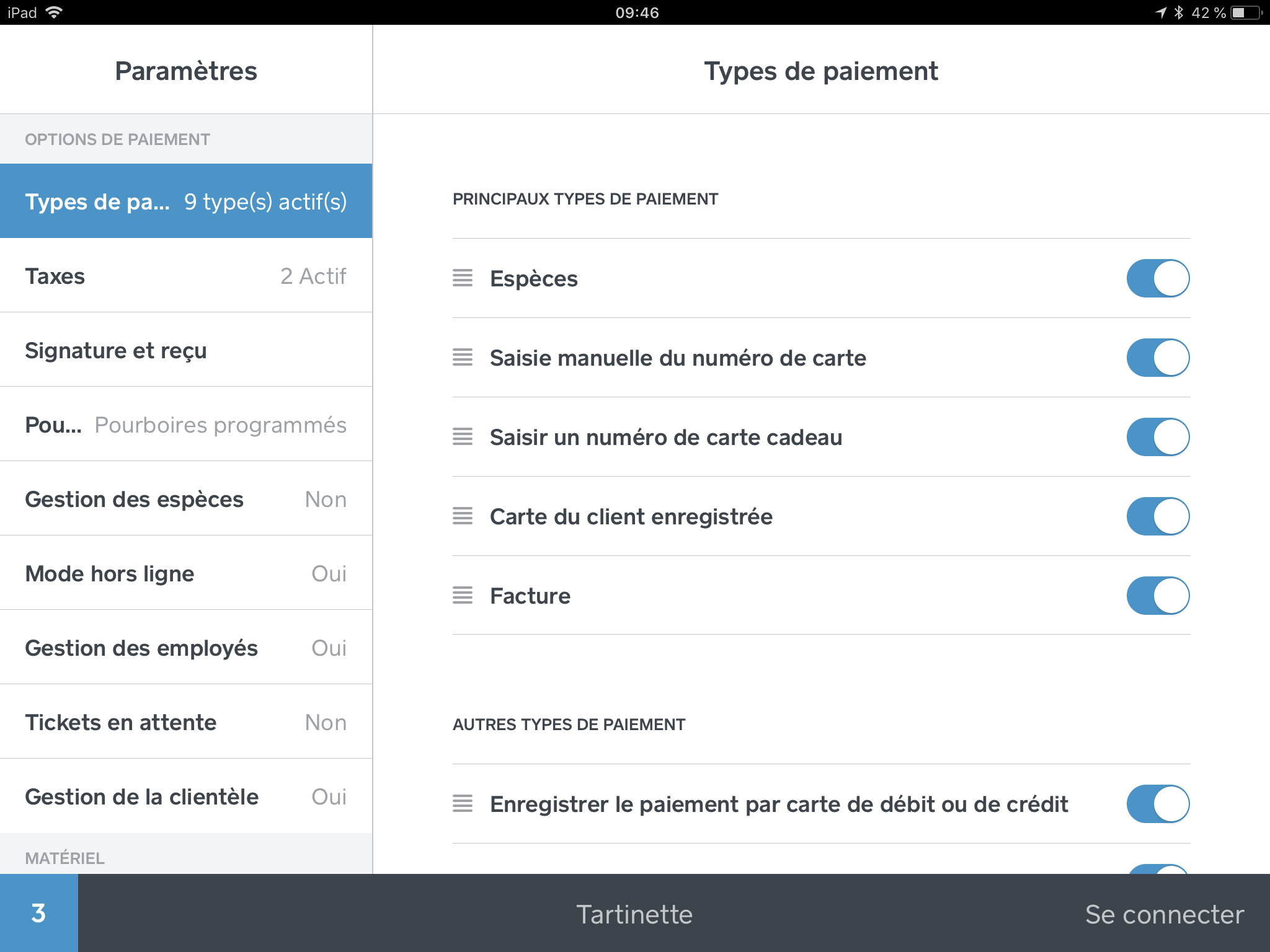 Types de paiement dans iOS