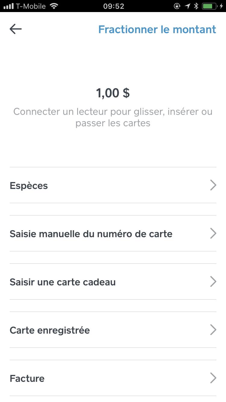 Pavé numérique de l'écran de transaction sur iPhone