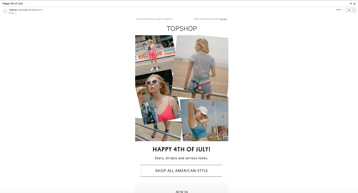 TopShop 4th of July email