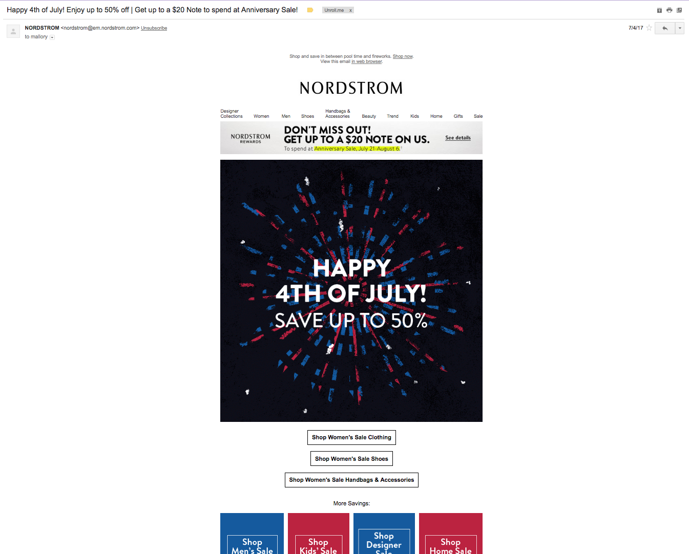 Nordstrom 4th of July email