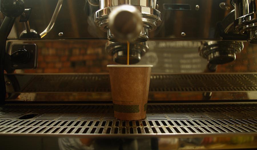 elemental collective espresso machine pouring coffee