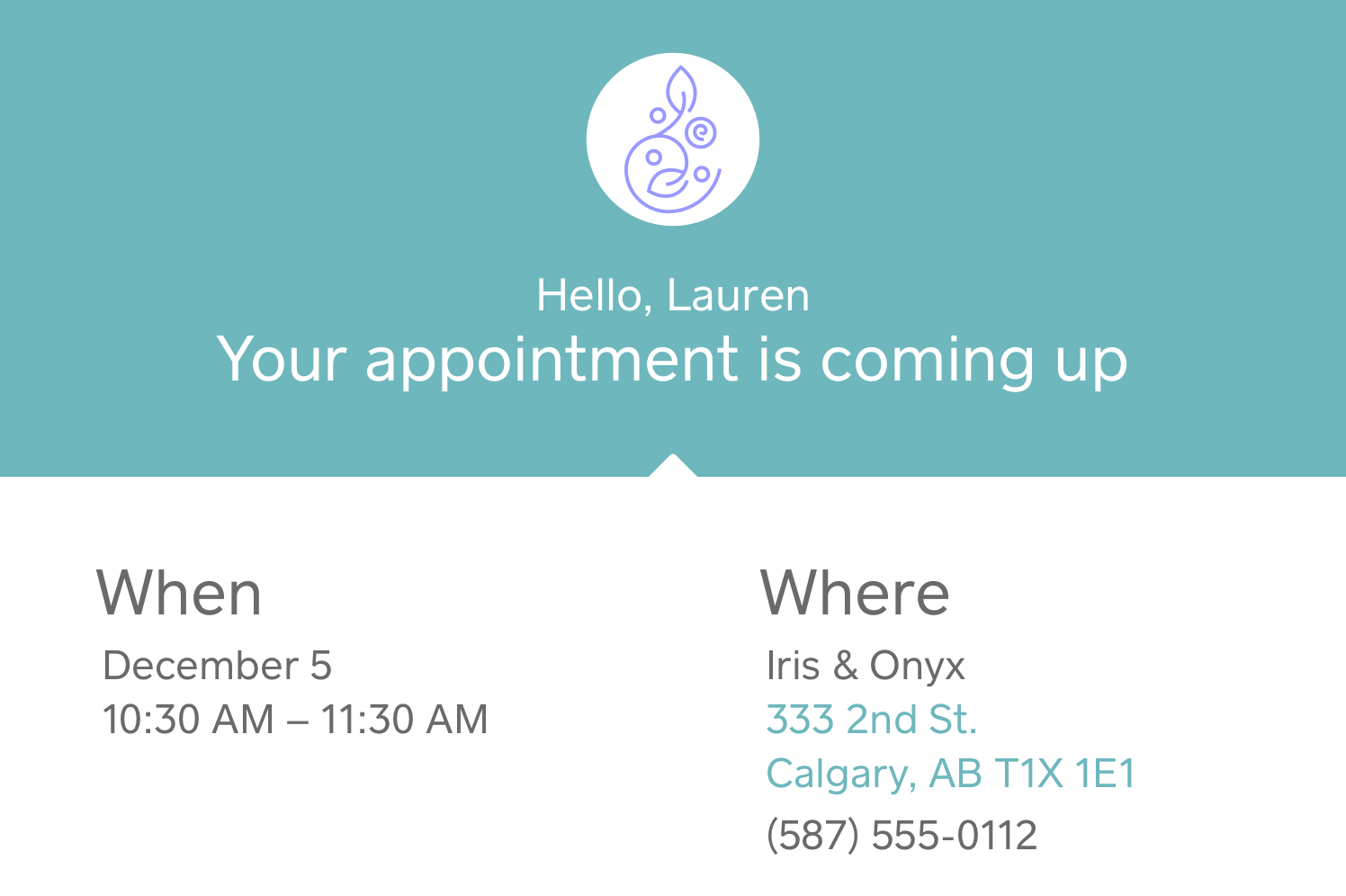 Image of an SMS appointment reminder