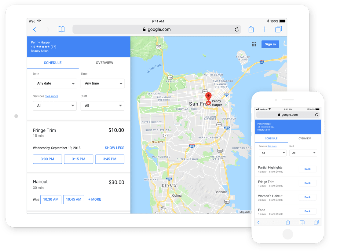 reserve with google appointments integration screenshot
