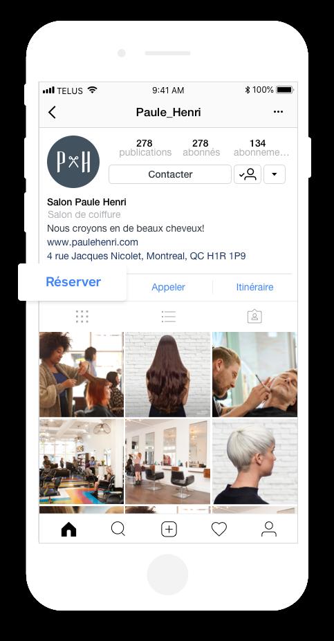 saisie d'écran intégration de rendez-vous instagram