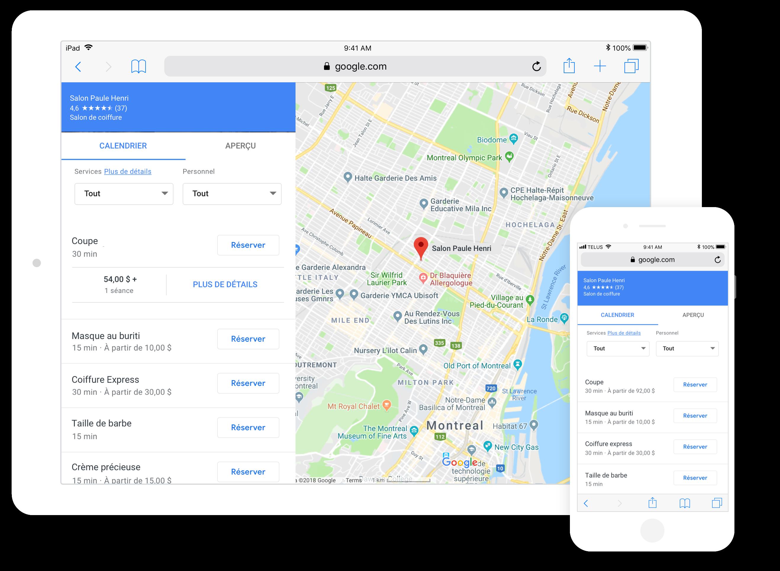 saisie d'écran intégration de rendez-vous réserver avec google